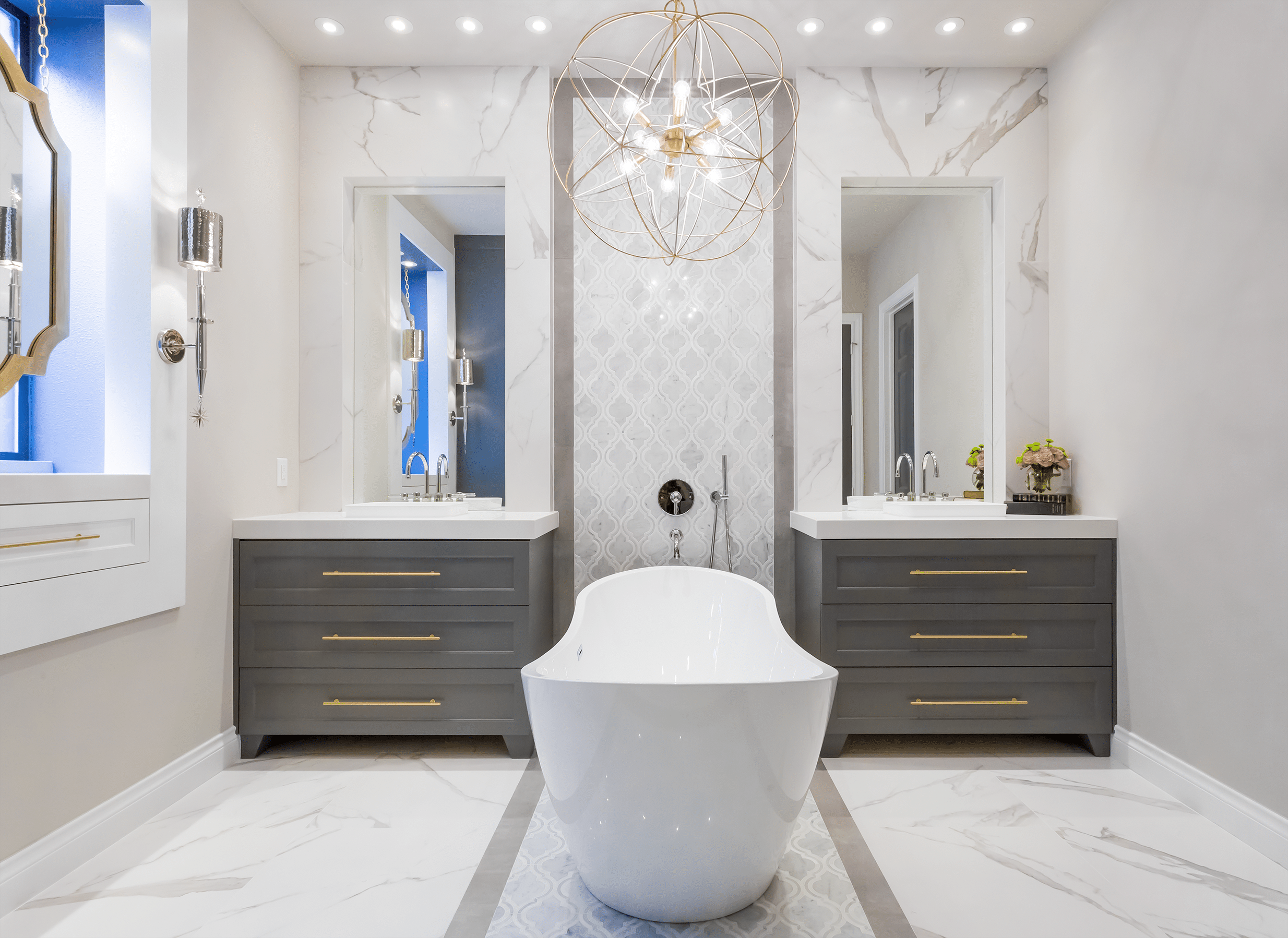 Master Bathroom Renovation Gold Gray Cobalt Spring Valley