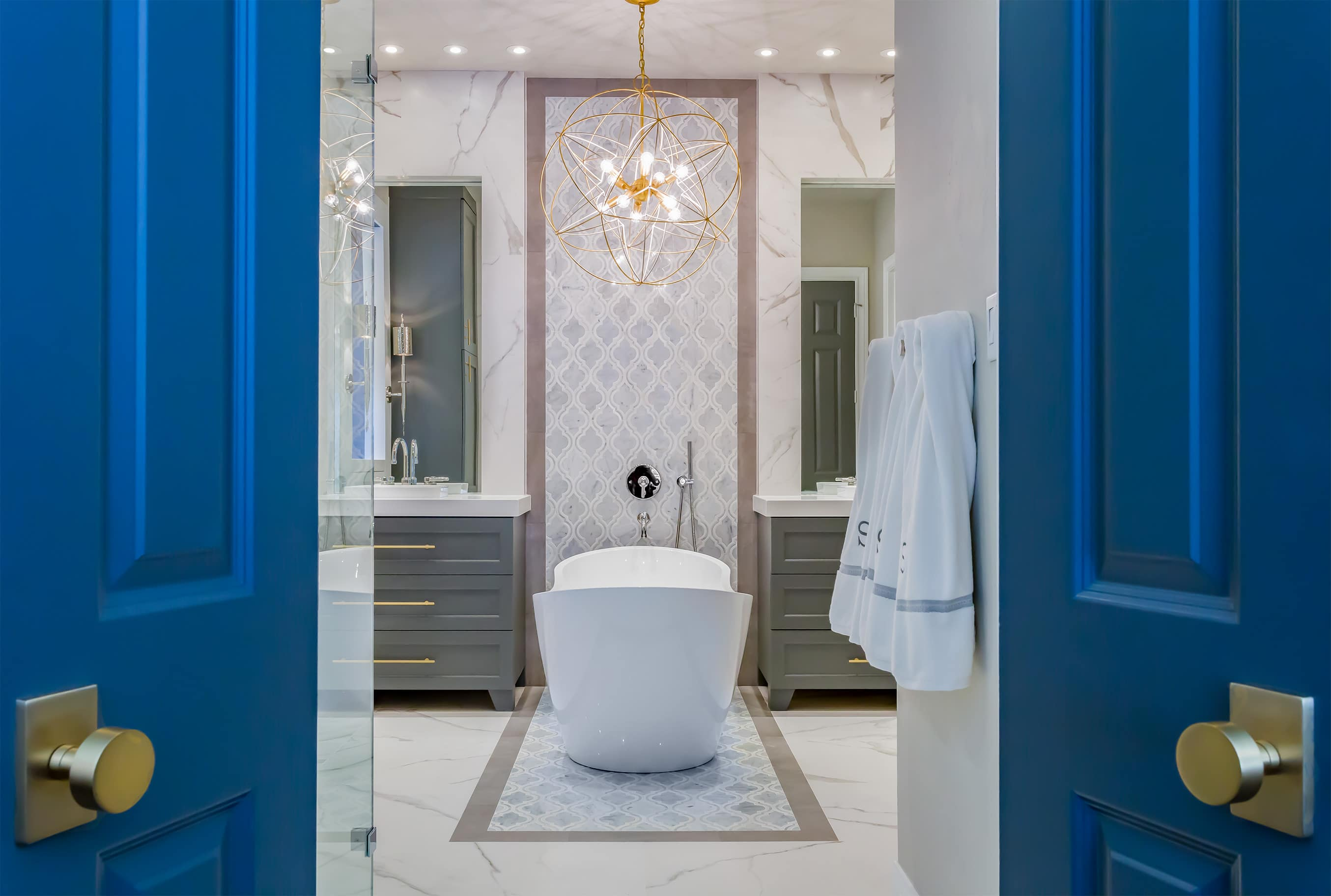 Bathroom Remodeling Houston Tx master bathroom renovation | gold, gray & cobalt | spring valley