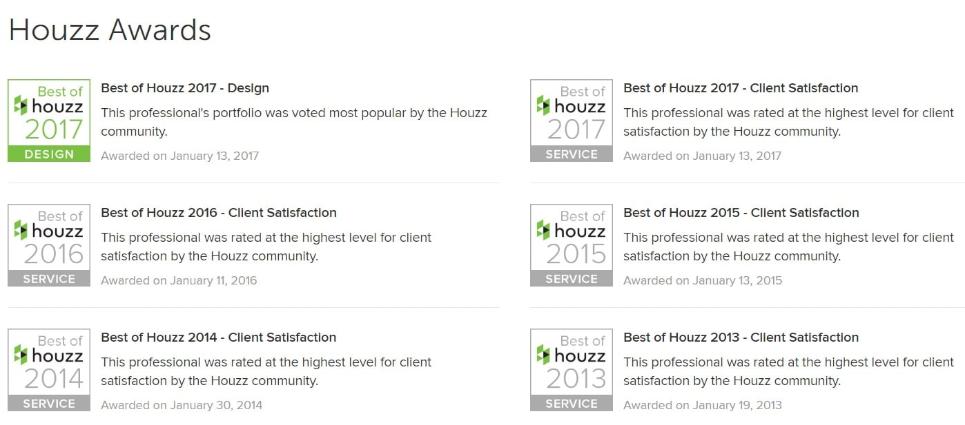 Houzz Awards Houston Badges Designer