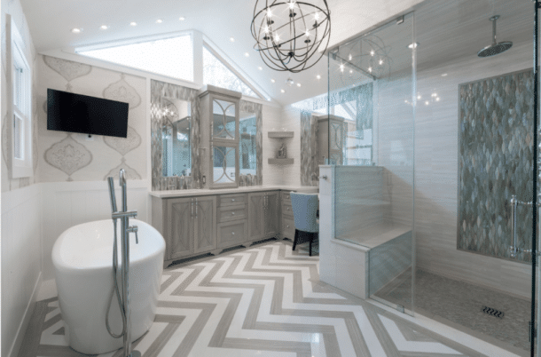 chevron floor in bathroom remodel